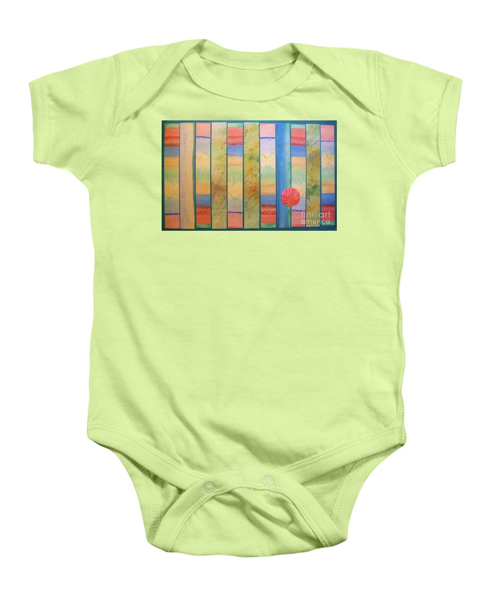 Primary Colors Baby Onesie featuring the mixed media Sunrise On The Water by Desiree Paquette