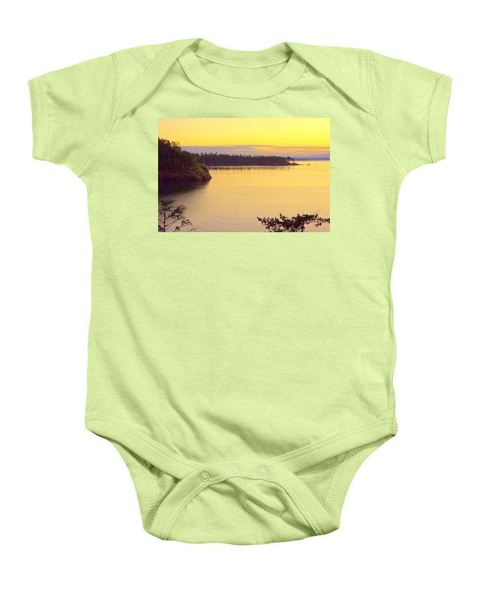 Sunset Baby Onesie featuring the photograph Sunset Over Widbey Island 8x12 by Randall Thomas Stone