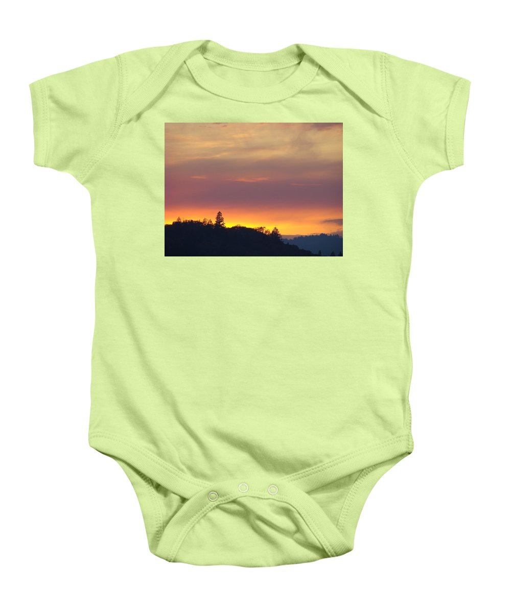 Sunset Baby Onesie featuring the photograph Sunset Yellow Orange Purple Sunset Giclee Art Prints Baslee Troutman by Baslee Troutman