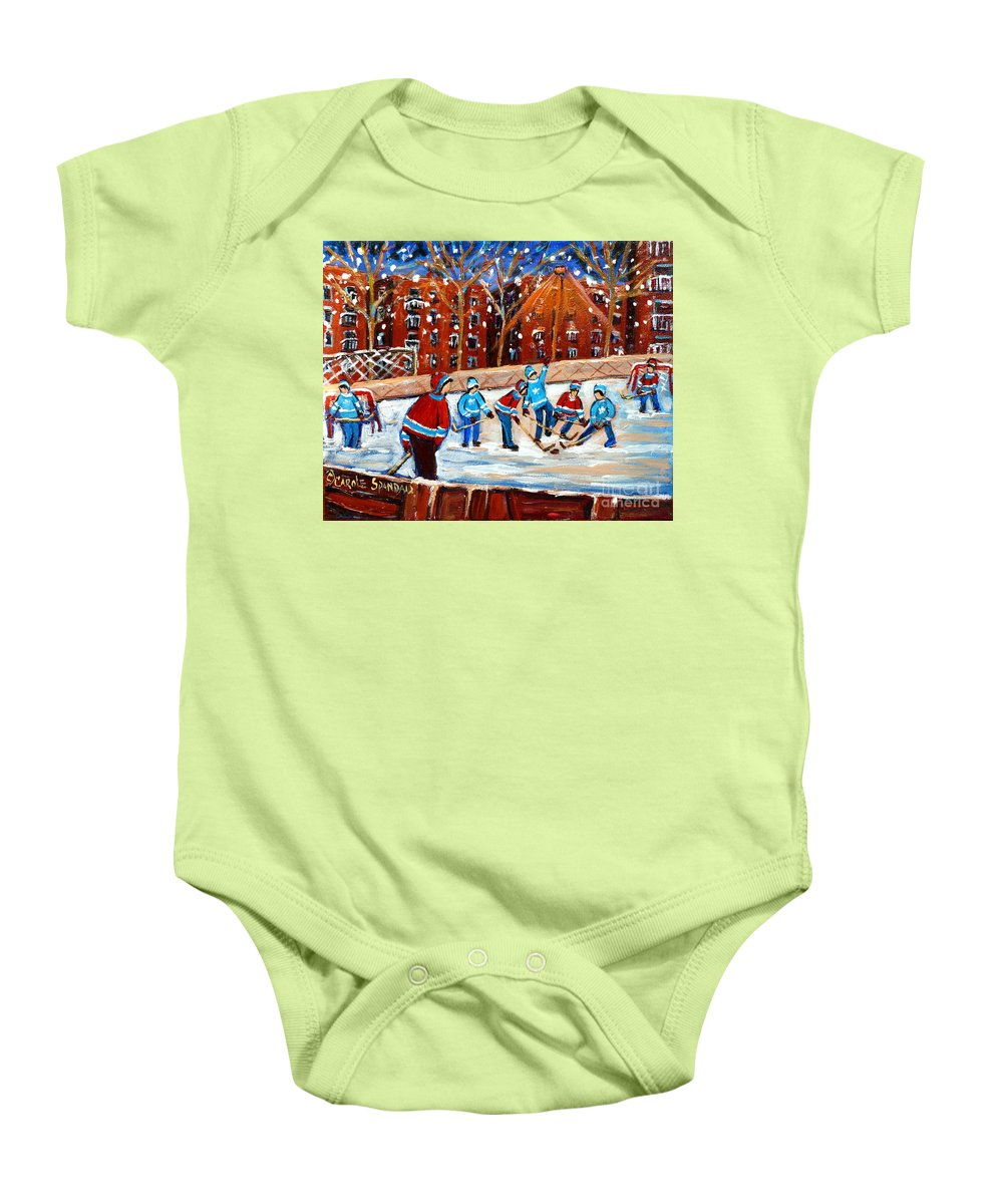 Kids Playing Hockey Baby Onesie featuring the painting Sunsetting On My Street by Carole Spandau