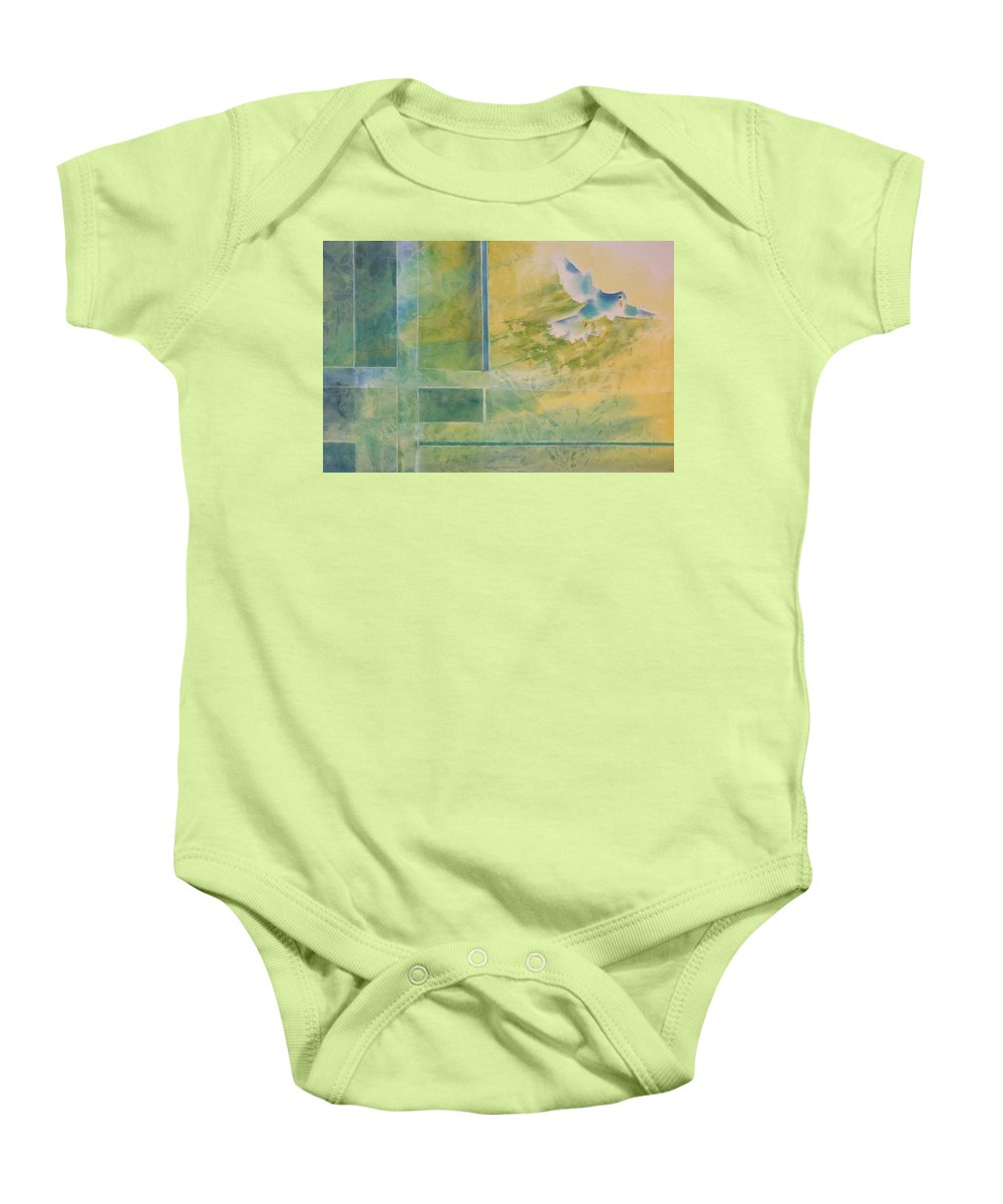 Watercolor Artist Baby Onesie featuring the painting Taking Flight To The Light by Debbie Lewis