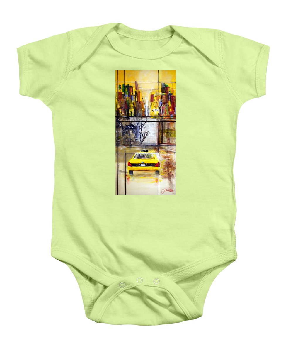 Taxi Baby Onesie featuring the painting Taxi 7 by Jack Diamond