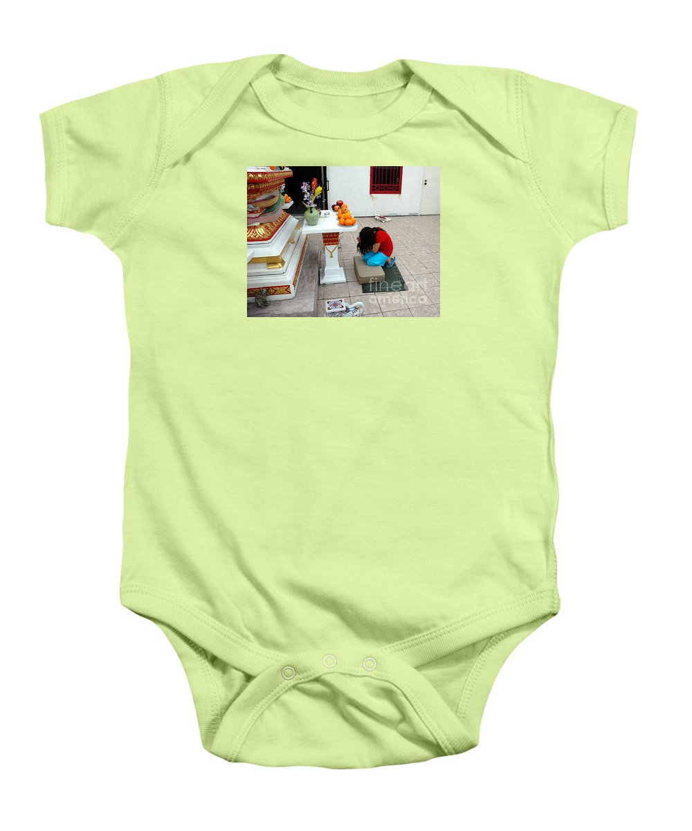 Child Baby Onesie featuring the photograph Temple Prayer by Michael Ziegler
