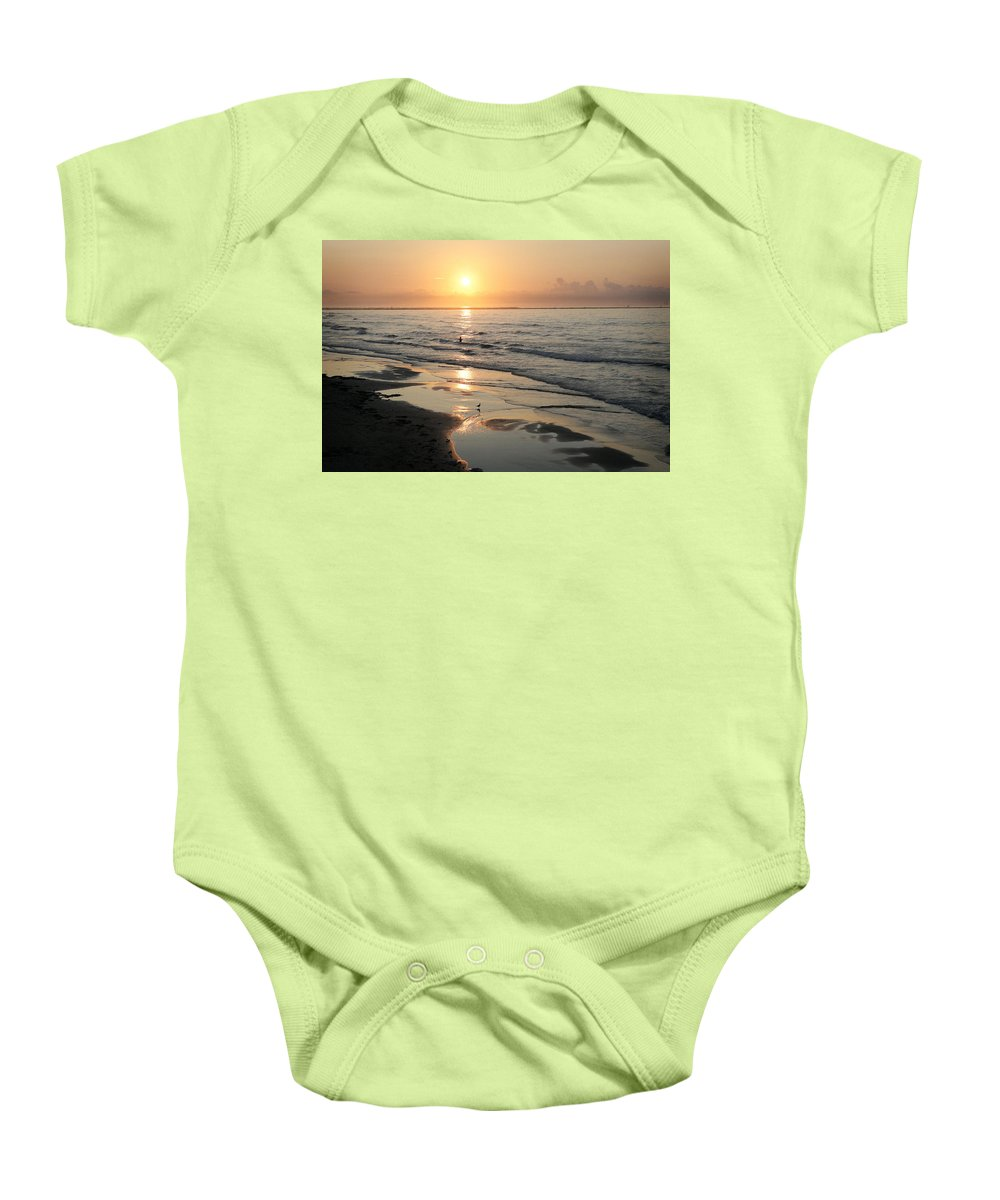 Water Baby Onesie featuring the photograph Texas Gulf Coast At Sunrise by Marilyn Hunt