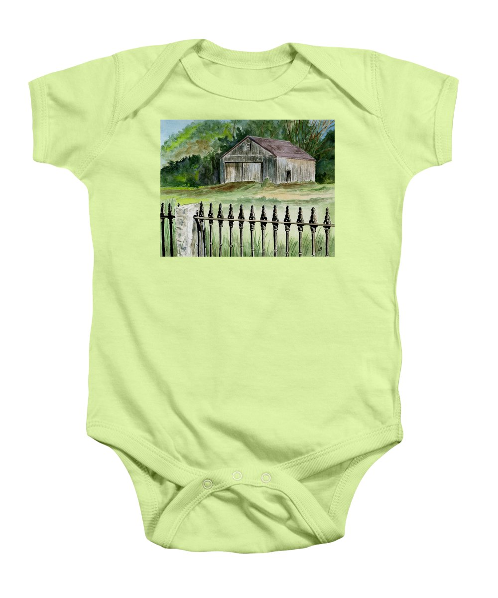 Landscape Baby Onesie featuring the painting The Barn At Parsonsfield Maine by Brenda Owen