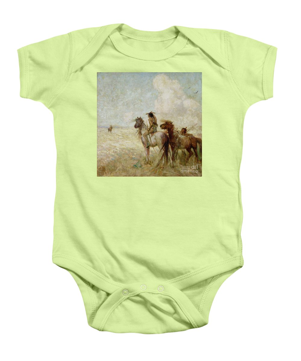 The Baby Onesie featuring the painting The Bison Hunters by Nathaniel Hughes John Baird