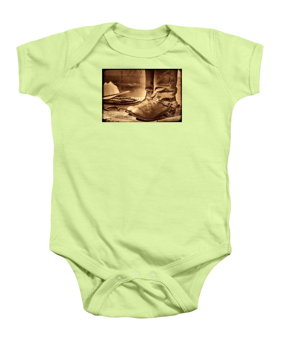 Western Baby Onesie featuring the photograph The Boots by American West Legend By Olivier Le Queinec