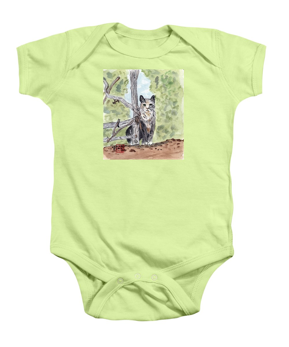 Cat Baby Onesie featuring the painting The Cat At The Fence by Arlene Wright-Correll