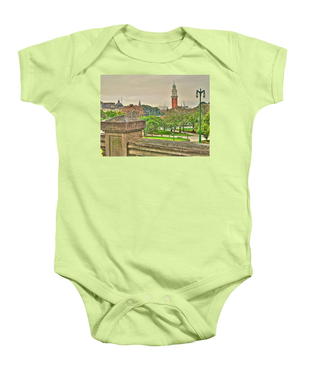 Clock Baby Onesie featuring the photograph the Clock by Francisco Colon
