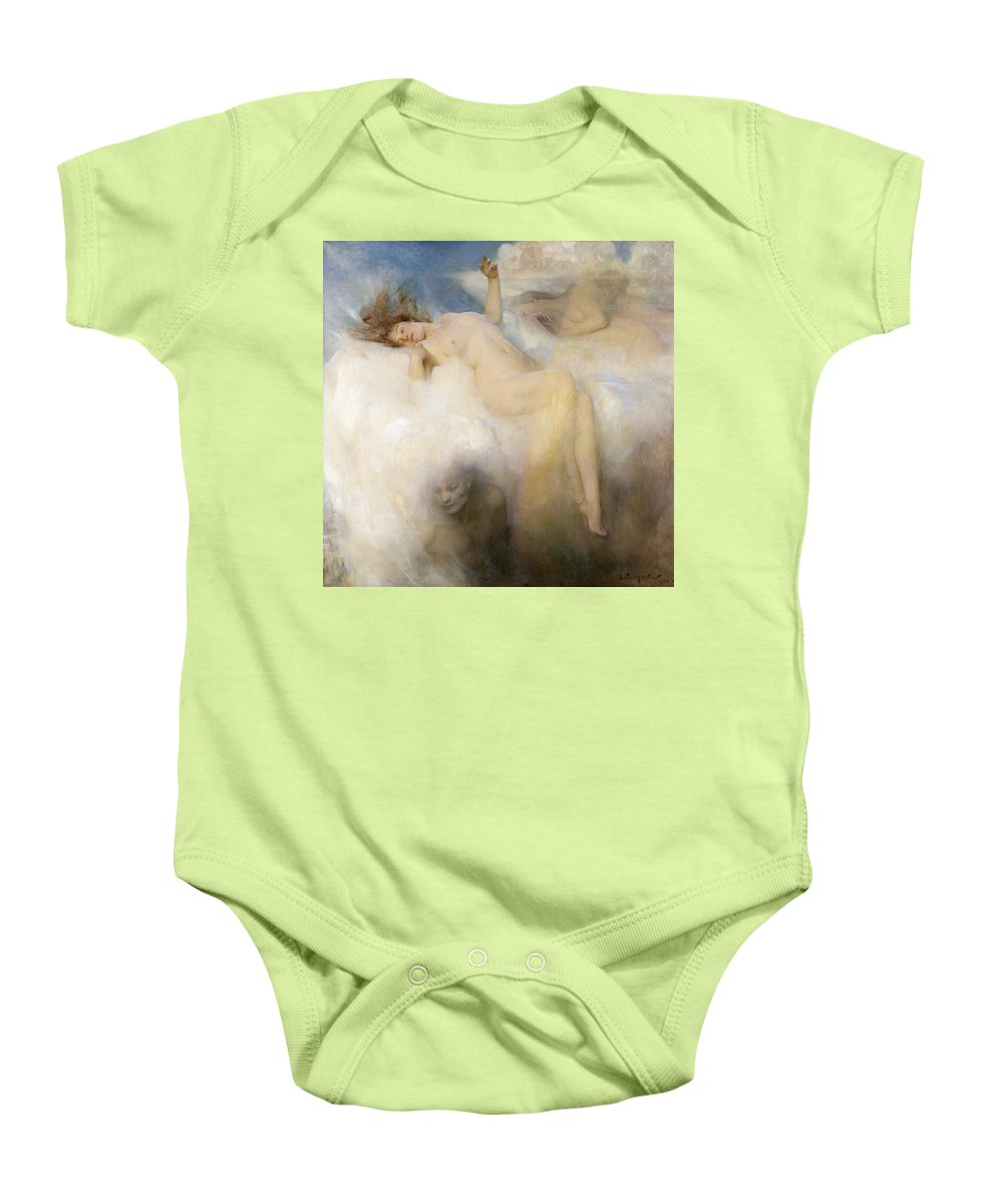 The Baby Onesie featuring the painting The Cloud by Arthur Hacker