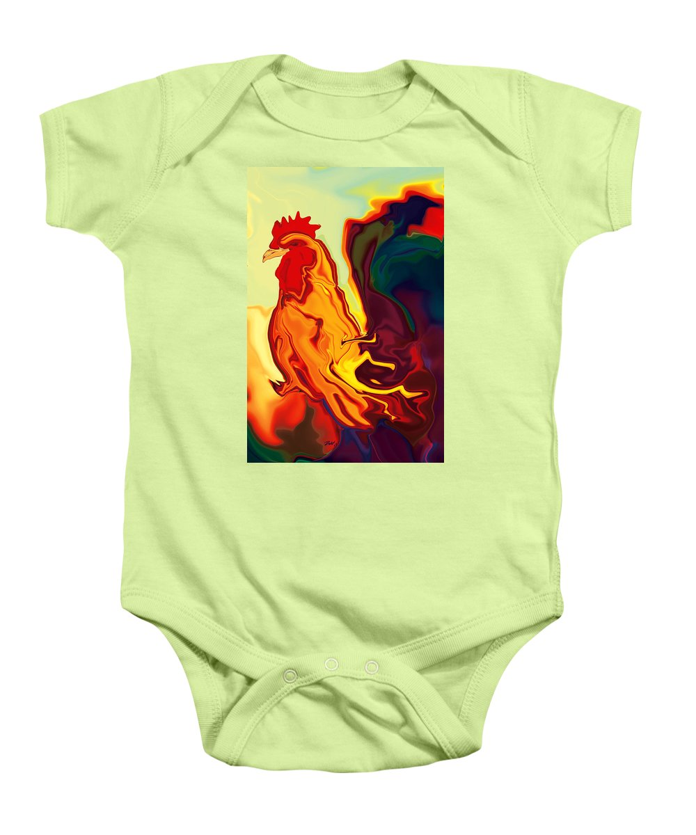 Animals Baby Onesie featuring the digital art The Cock by Rabi Khan