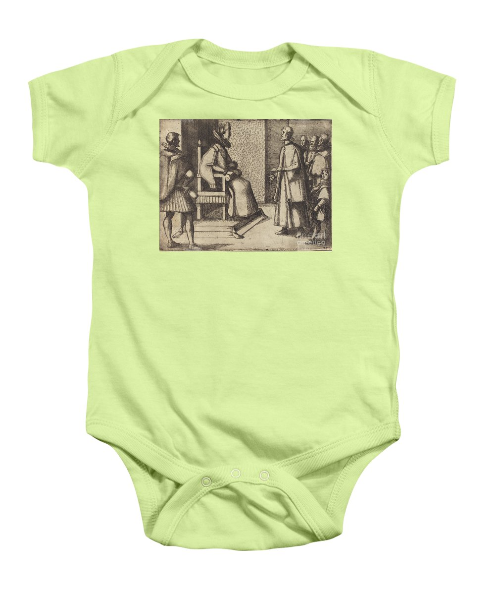 Baby Onesie featuring the drawing The Envoy Of Tuscany Thanking The Queen [verso] by Jacques Callot