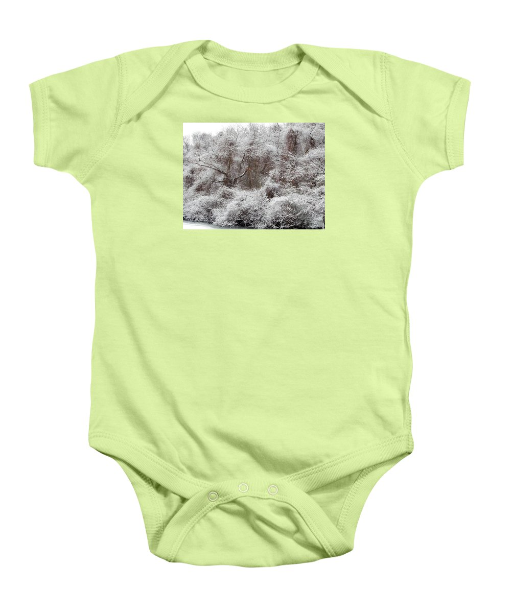 Snow Baby Onesie featuring the photograph The Forest Hush by Lynda Lehmann