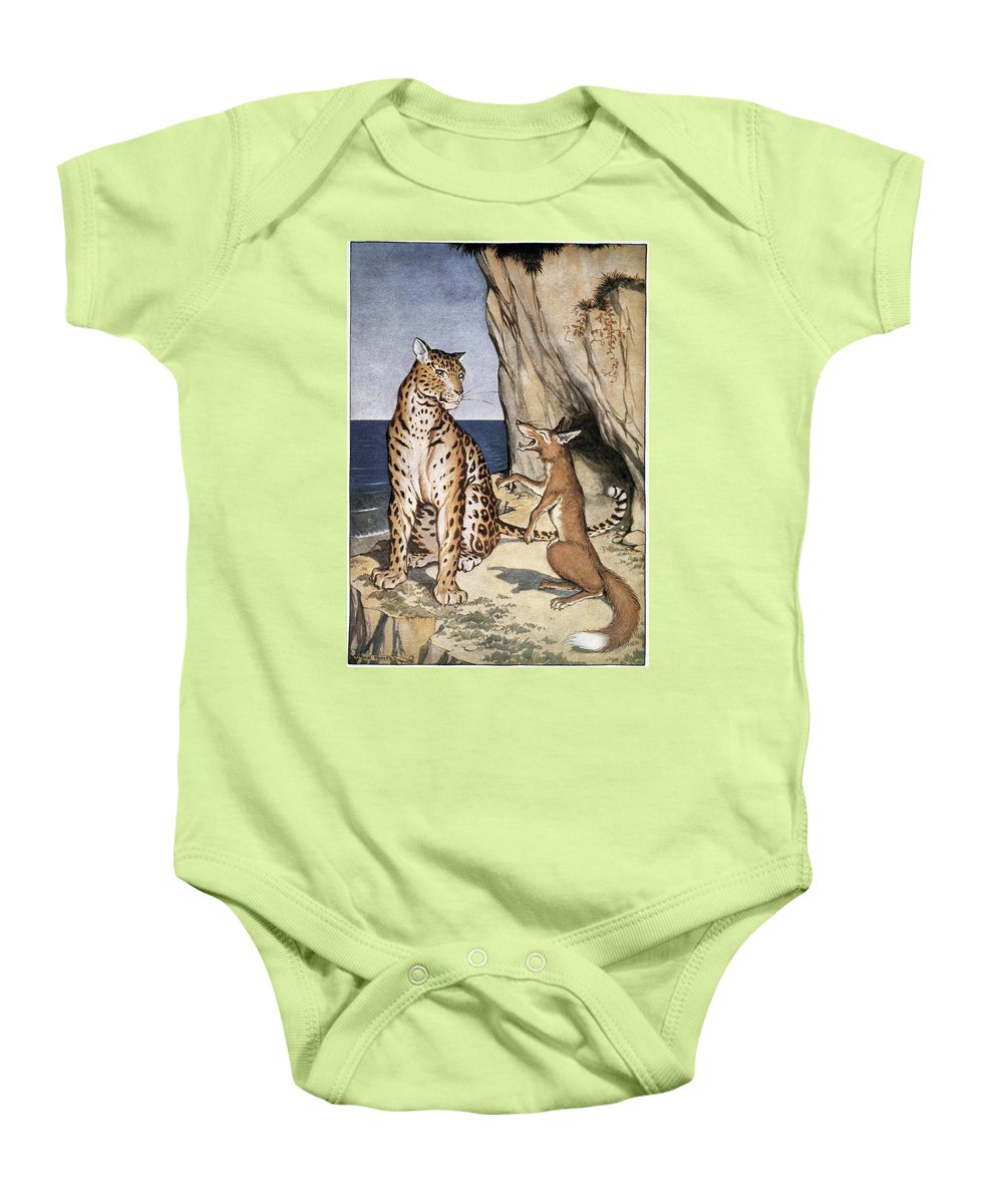1919 Baby Onesie featuring the photograph The Fox And The Leopard by Granger