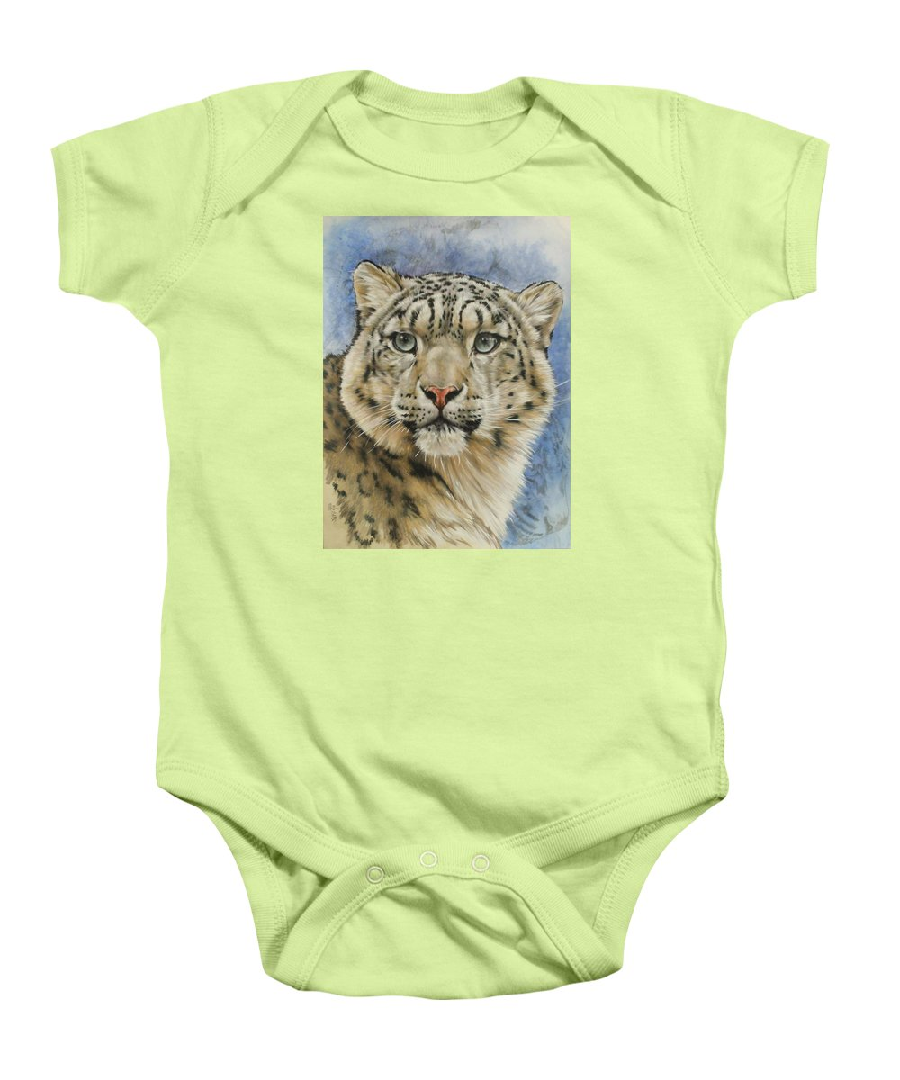 Snow Loepard Baby Onesie featuring the mixed media The Gaze by Barbara Keith
