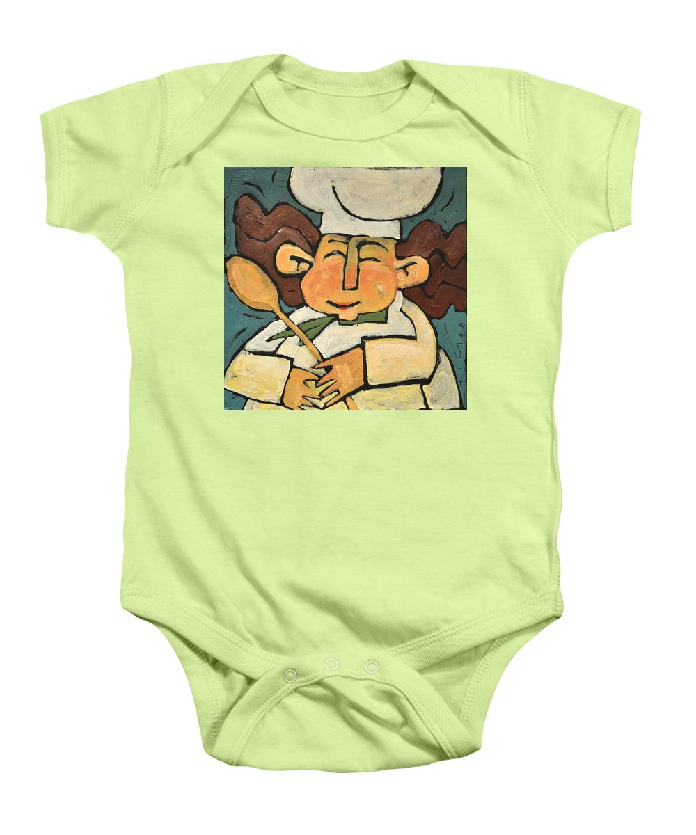 Chef Baby Onesie featuring the painting The Happy Chef by Tim Nyberg