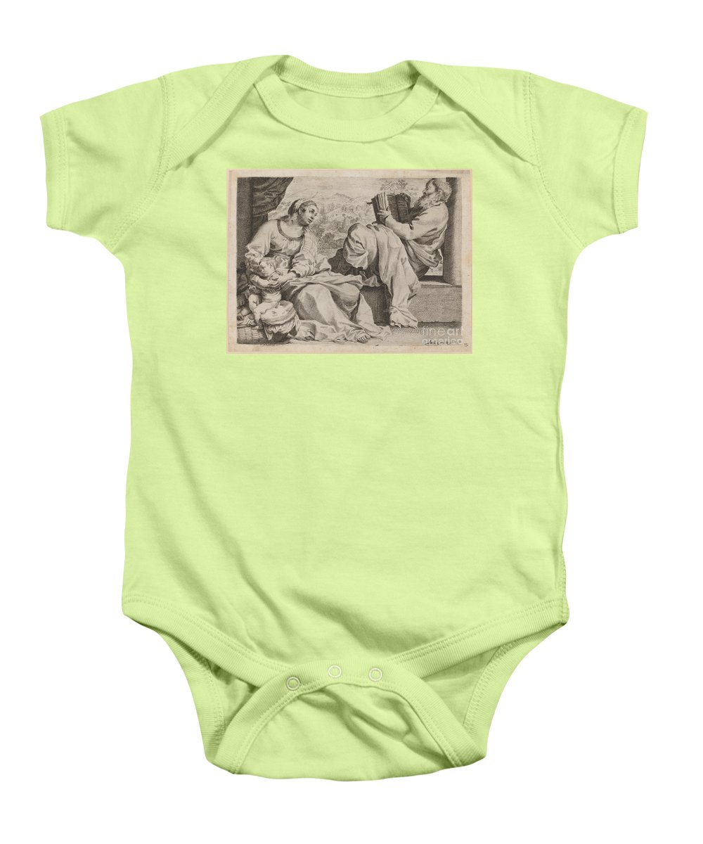 Baby Onesie featuring the drawing The Holy Family With Saint John The Baptist by Annibale Carracci