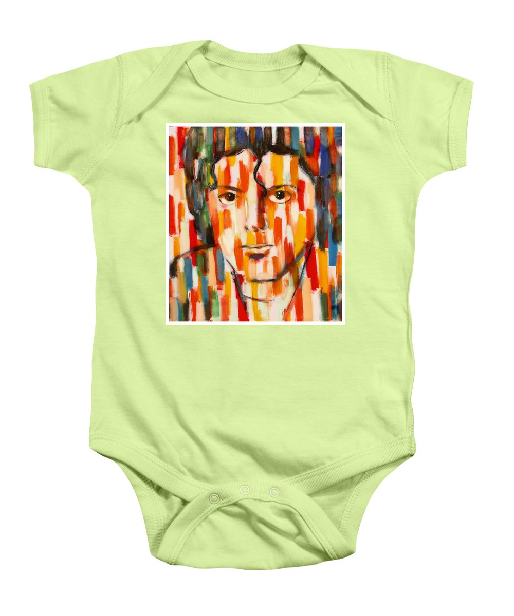 Michael Jackson Baby Onesie featuring the painting the king of pop Michael Jackson by Habib Ayat