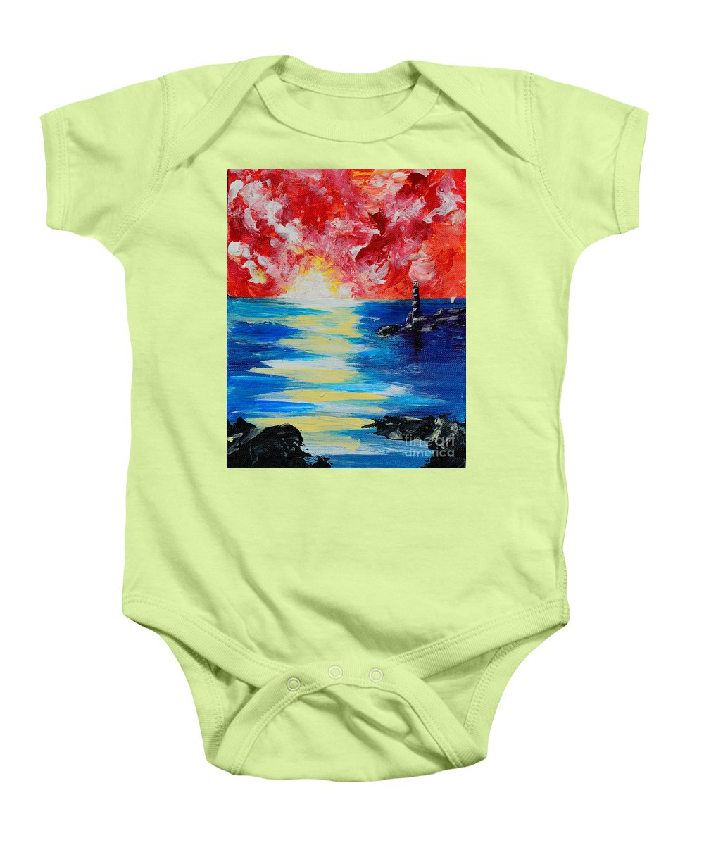 Landscape Baby Onesie featuring the painting The Lighthouse by Alys Caviness-Gober
