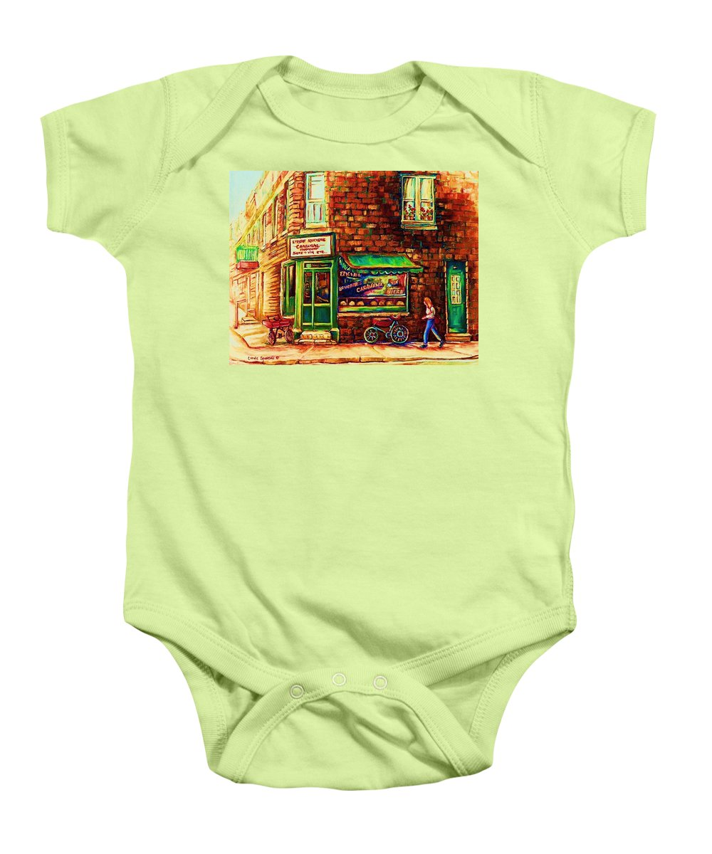 Montreal Baby Onesie featuring the painting The Little Red Wagon by Carole Spandau