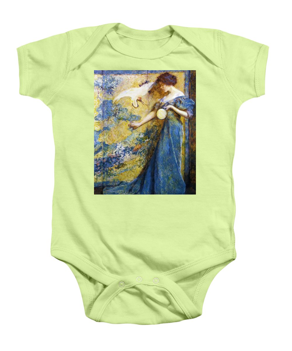The Baby Onesie featuring the painting The Mirror 1910 by Reid Robert Lewis