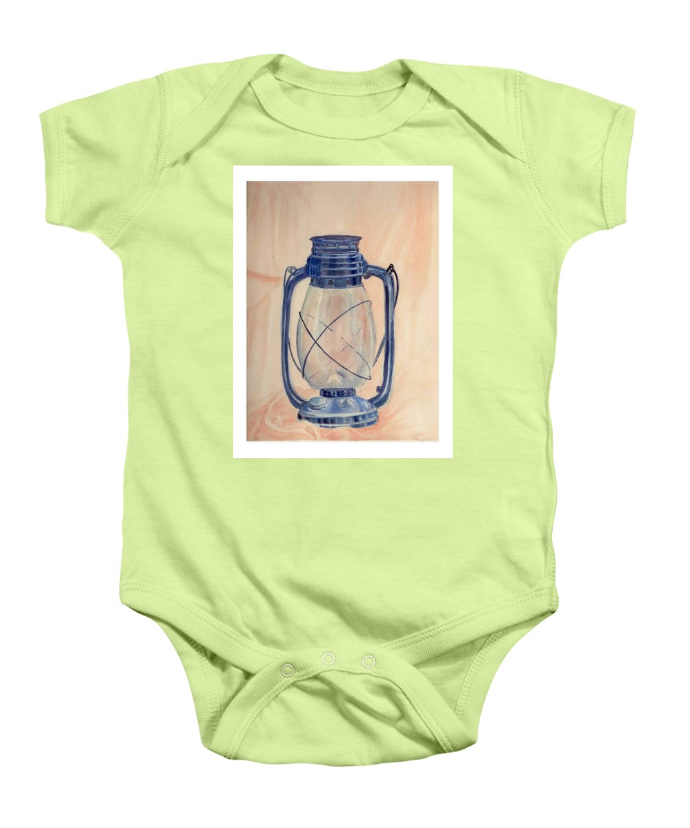 Lantern Baby Onesie featuring the painting The Old Lantern by Asha Sudhaker Shenoy
