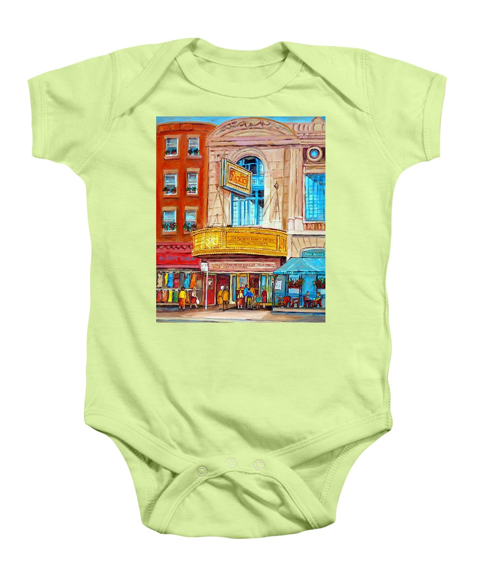 Montreal Baby Onesie featuring the painting The Rialto Theatre Montreal by Carole Spandau