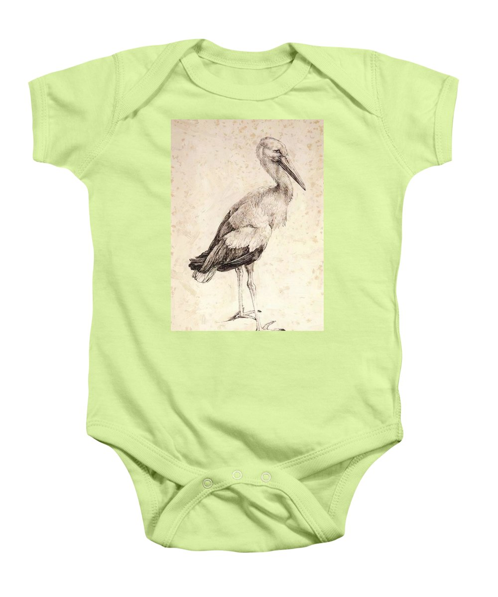 The Baby Onesie featuring the painting The Stork 1515 by Durer Albrecht