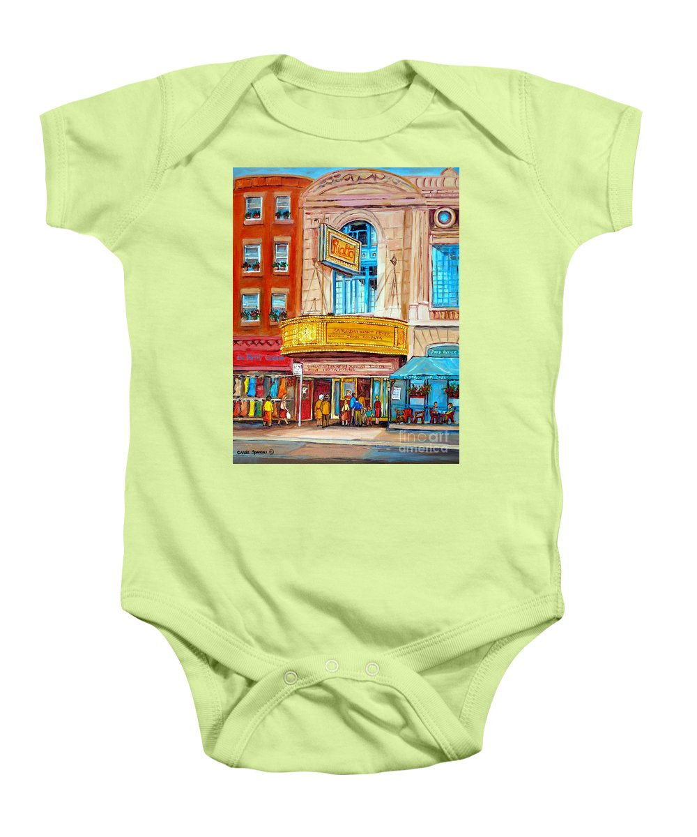 Montreal Baby Onesie featuring the painting Theatre Rialto Ave. Du Parc Montreal by Carole Spandau