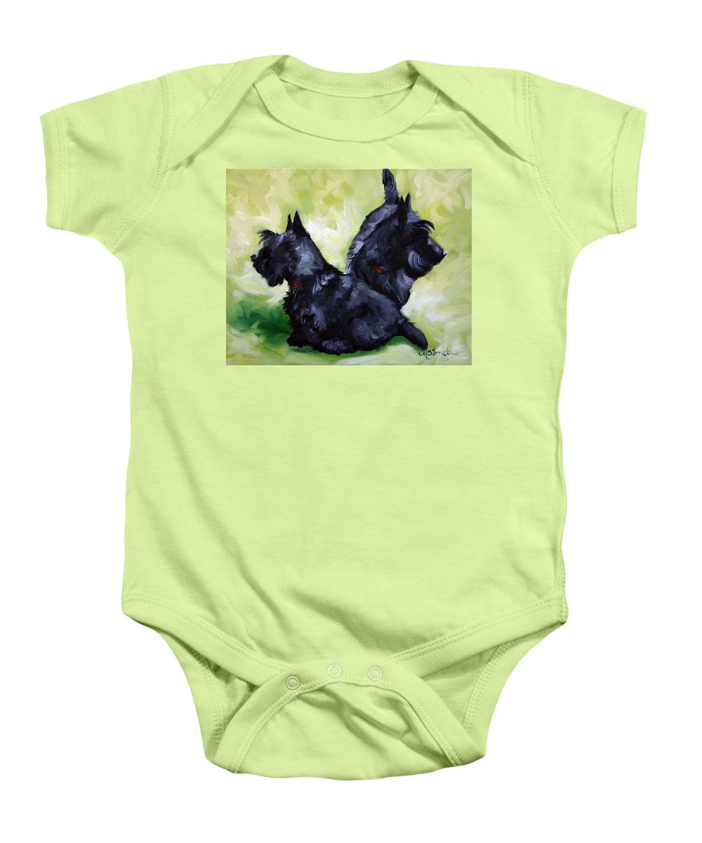 Art Baby Onesie featuring the painting This Way Or That by Mary Sparrow