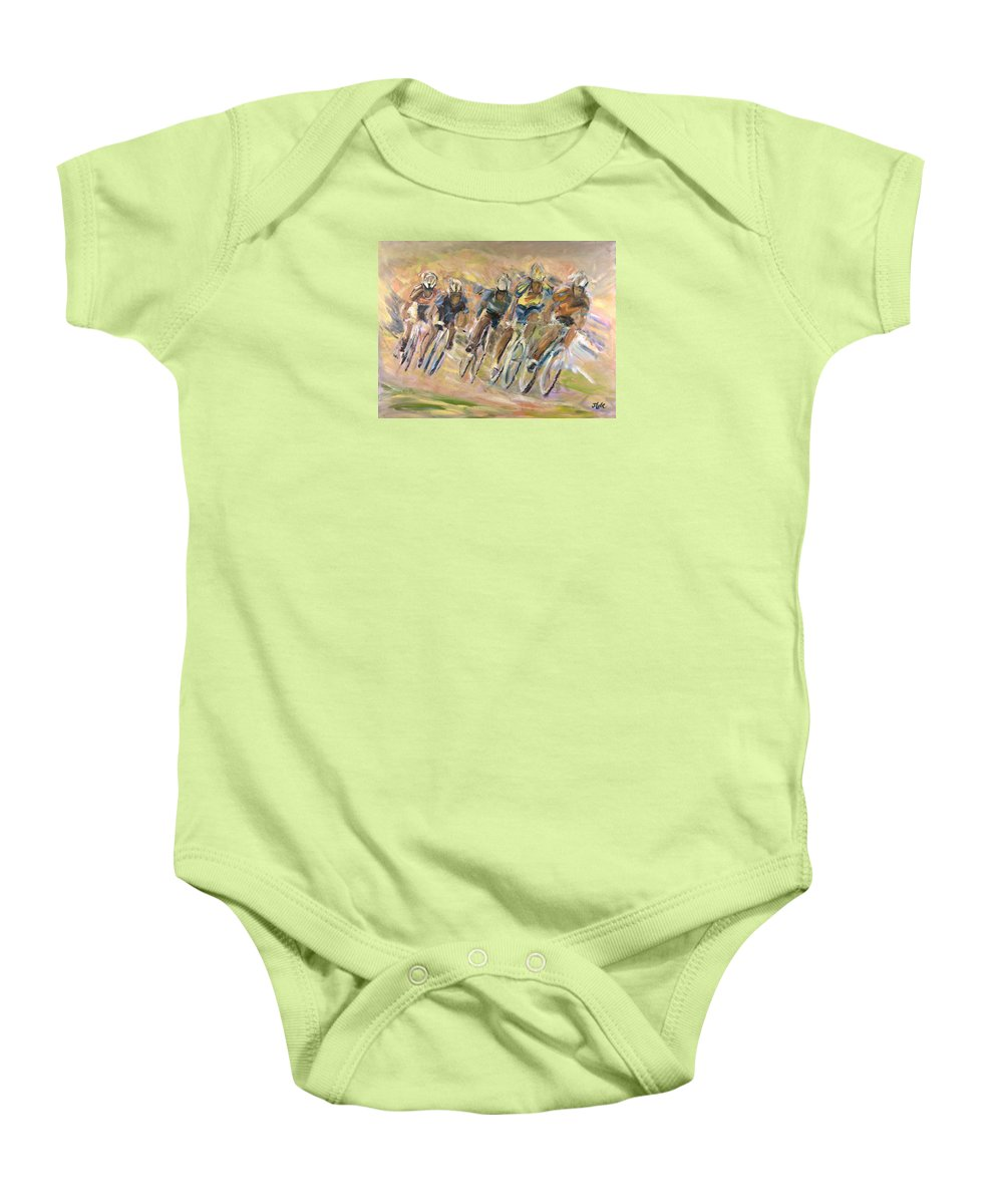 Cyclists Baby Onesie featuring the painting Thrill Of The Chase by Jude Lobe