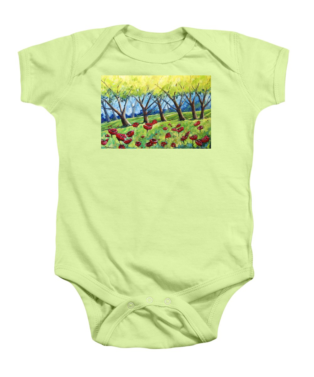 Landscape Baby Onesie featuring the painting Through The Meadows by Richard T Pranke