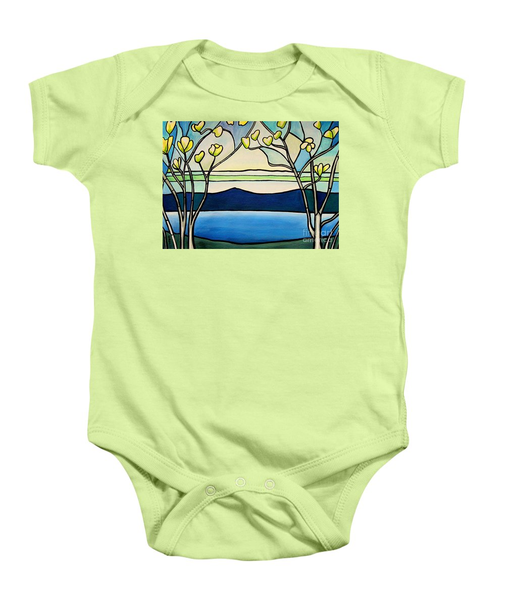 Landscape Baby Onesie featuring the painting Tiffany And Blossoms Stained Glass by Elizabeth Robinette Tyndall
