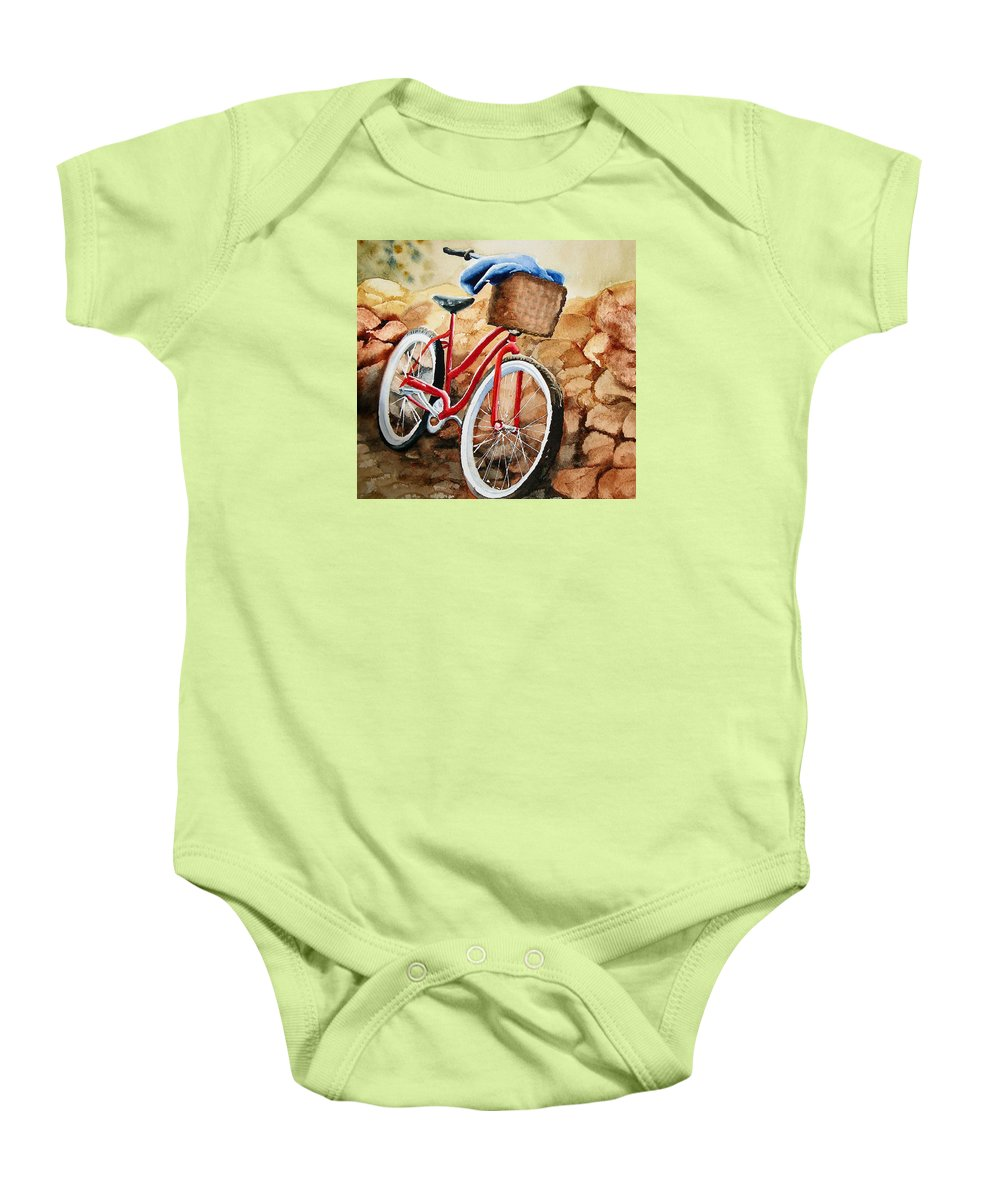 Bicycle Baby Onesie featuring the painting Time Out by Karen Stark