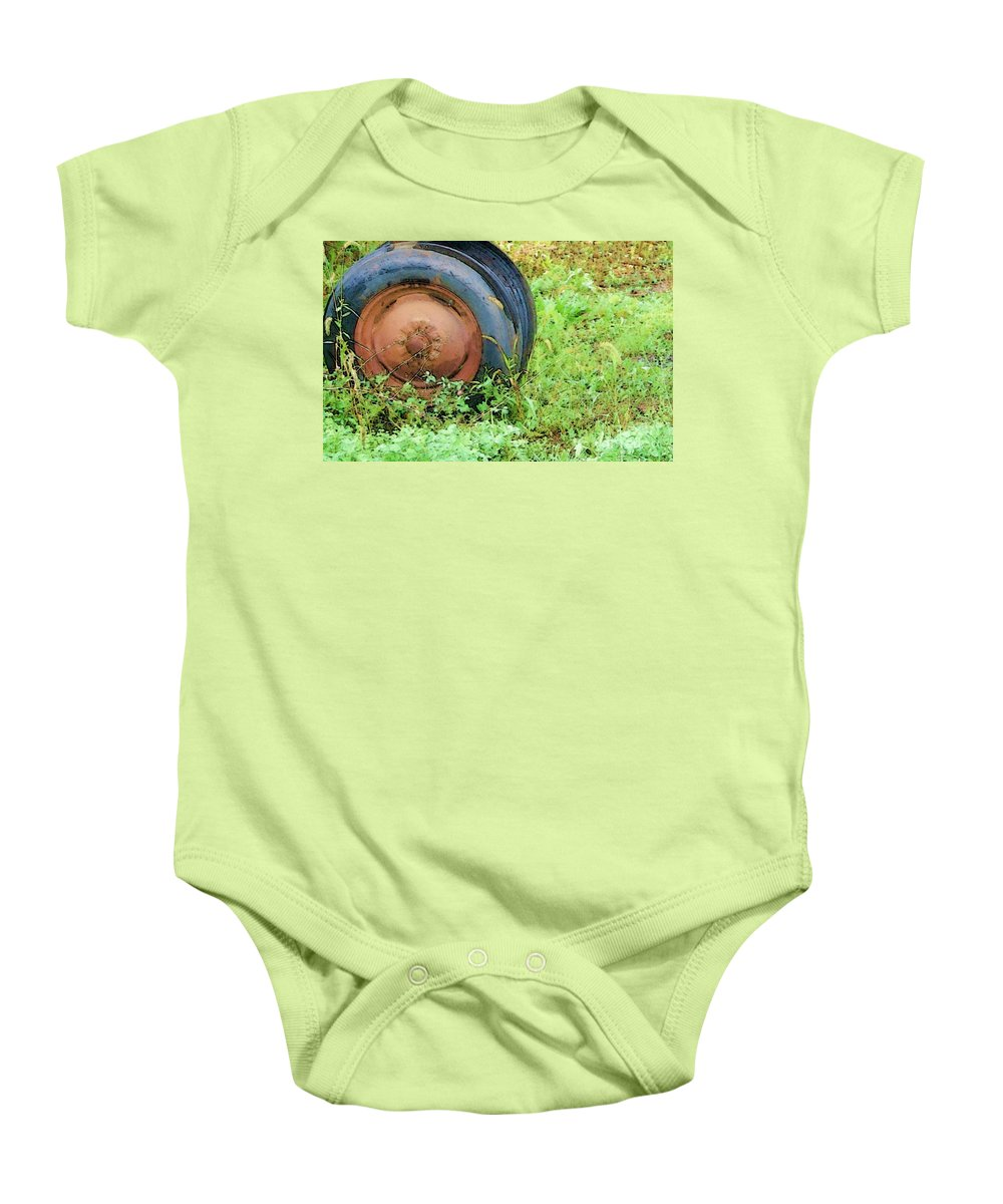 Tire Baby Onesie featuring the photograph Tired by Debbi Granruth