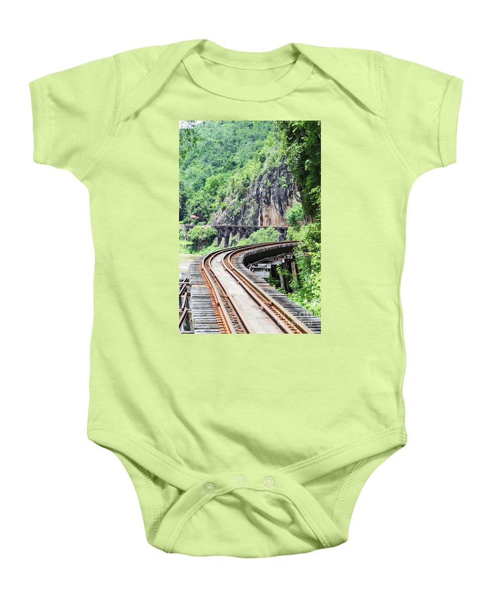 Architectural Art Baby Onesie featuring the photograph Train Tracks by Bill Brennan - Printscapes