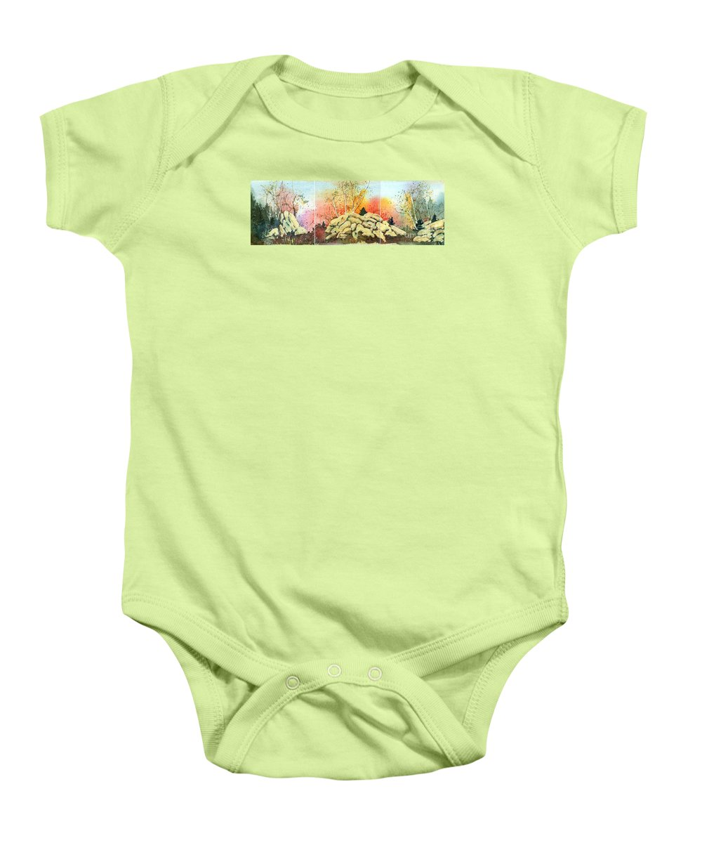 Landscape Baby Onesie featuring the painting Triptych by Lynn Quinn
