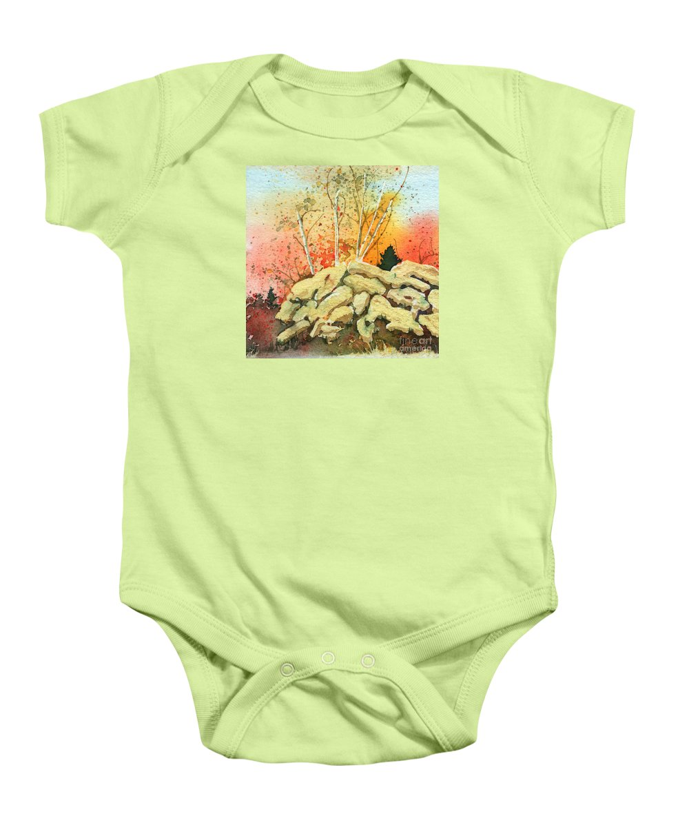 Landscape Baby Onesie featuring the painting Triptych Panel 2 by Lynn Quinn