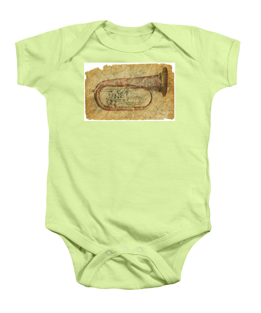 Grunge Baby Onesie featuring the photograph Trumpet In Grunge Style by Michal Boubin