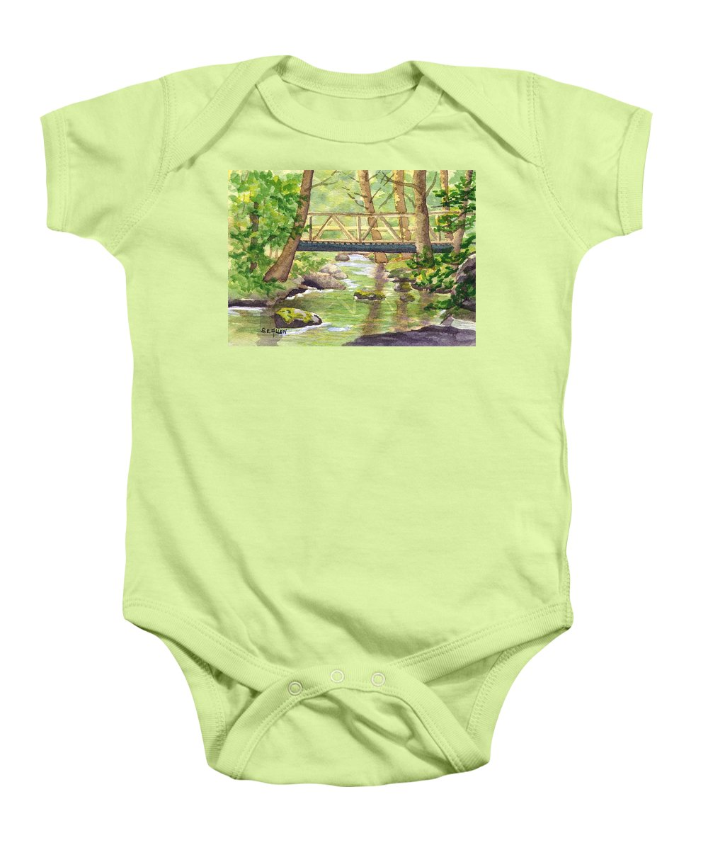 Stream Baby Onesie featuring the painting Tuckers Brook by Sharon E Allen