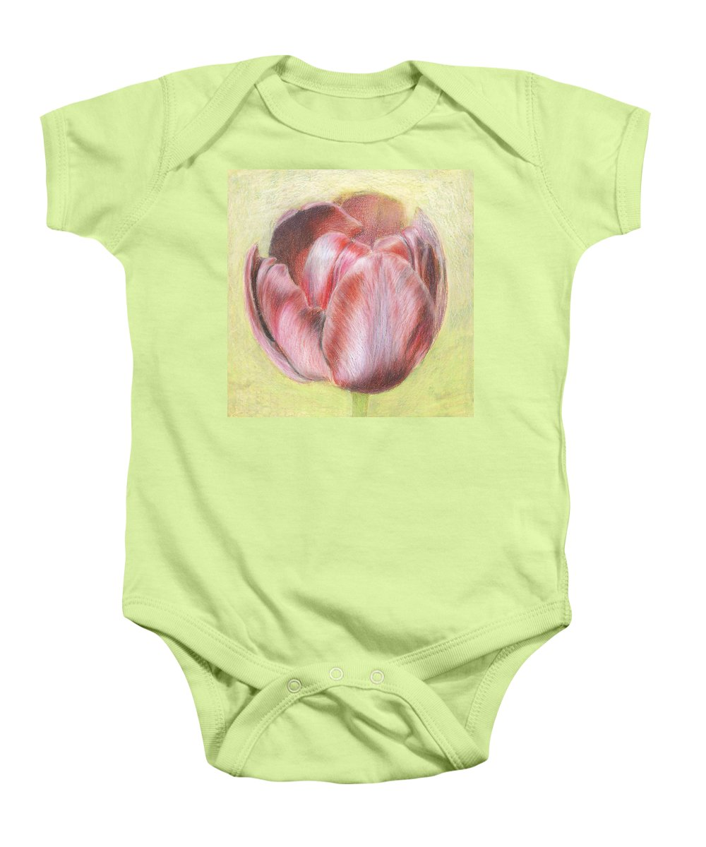 Tulipe Baby Onesie featuring the pastel Tulipe 2 by Aura Elena Stefanescu