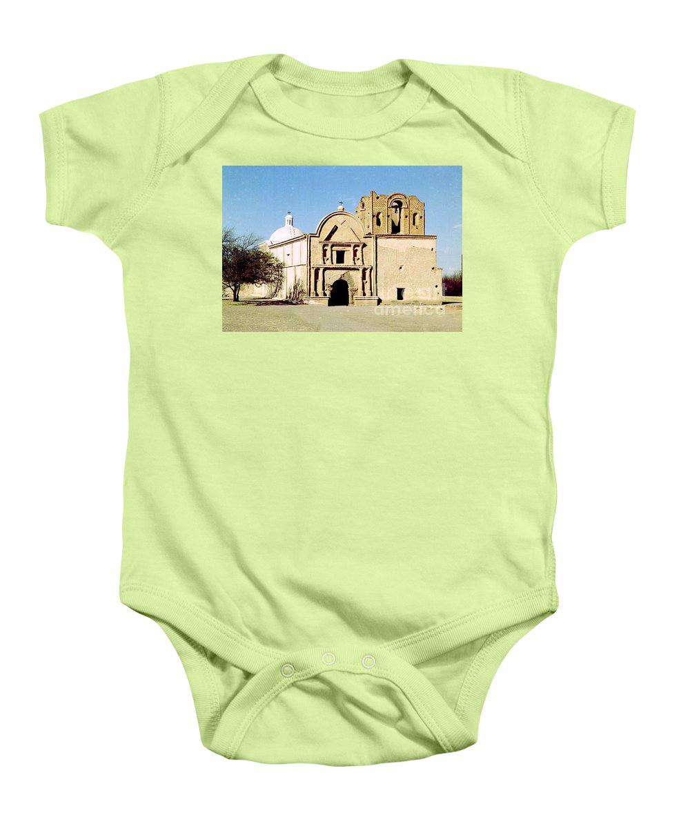 Mission Baby Onesie featuring the photograph Tumacacori by Kathy McClure
