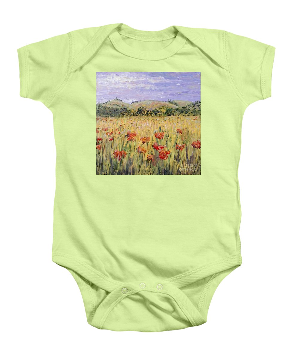 Poppies Baby Onesie featuring the painting Tuscany Poppies by Nadine Rippelmeyer