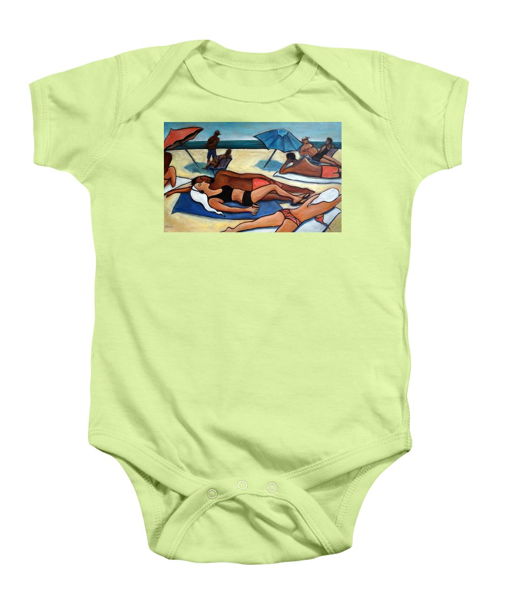 Beach Scene Baby Onesie featuring the painting Un Journee A La Plage by Valerie Vescovi