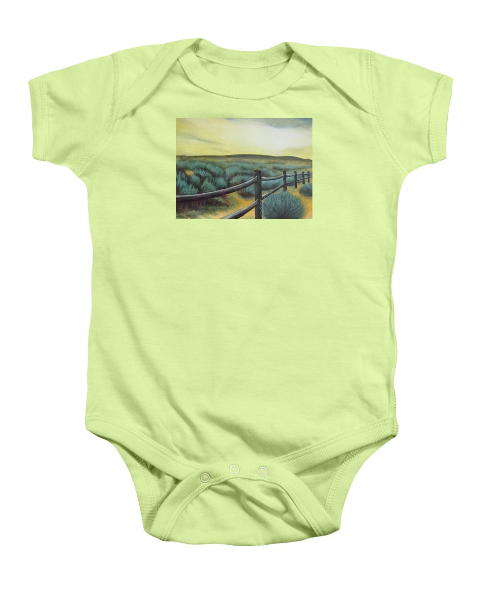 Utah Baby Onesie featuring the painting Utah Sunset by Lucy Deane
