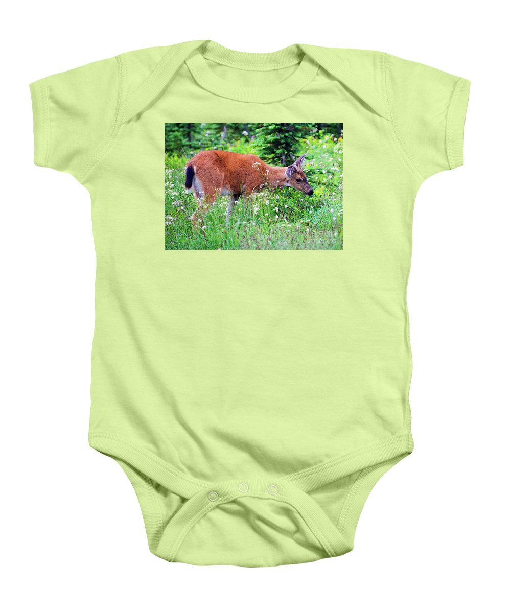 Buck Baby Onesie featuring the photograph Velvet Nubs by Mike Dawson
