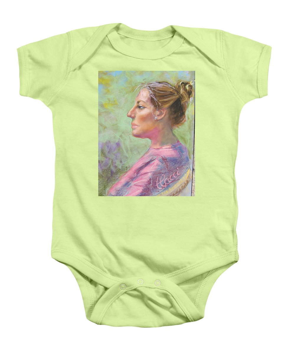 Portrait Baby Onesie featuring the painting Virginia by Laurie Paci