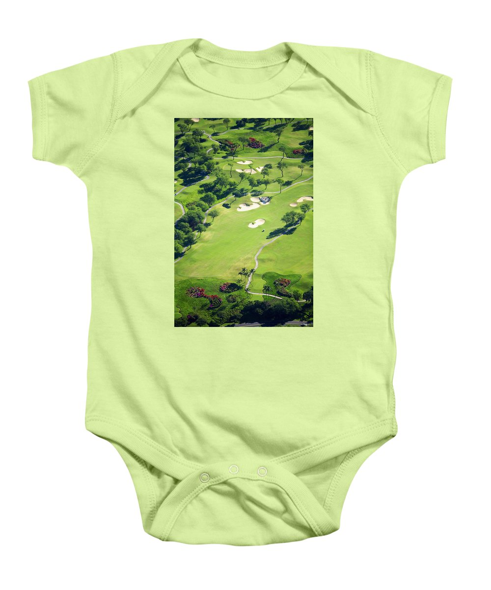 Aerial Baby Onesie featuring the photograph Wailea Gold And Emerald Courses by Ron Dahlquist - Printscapes