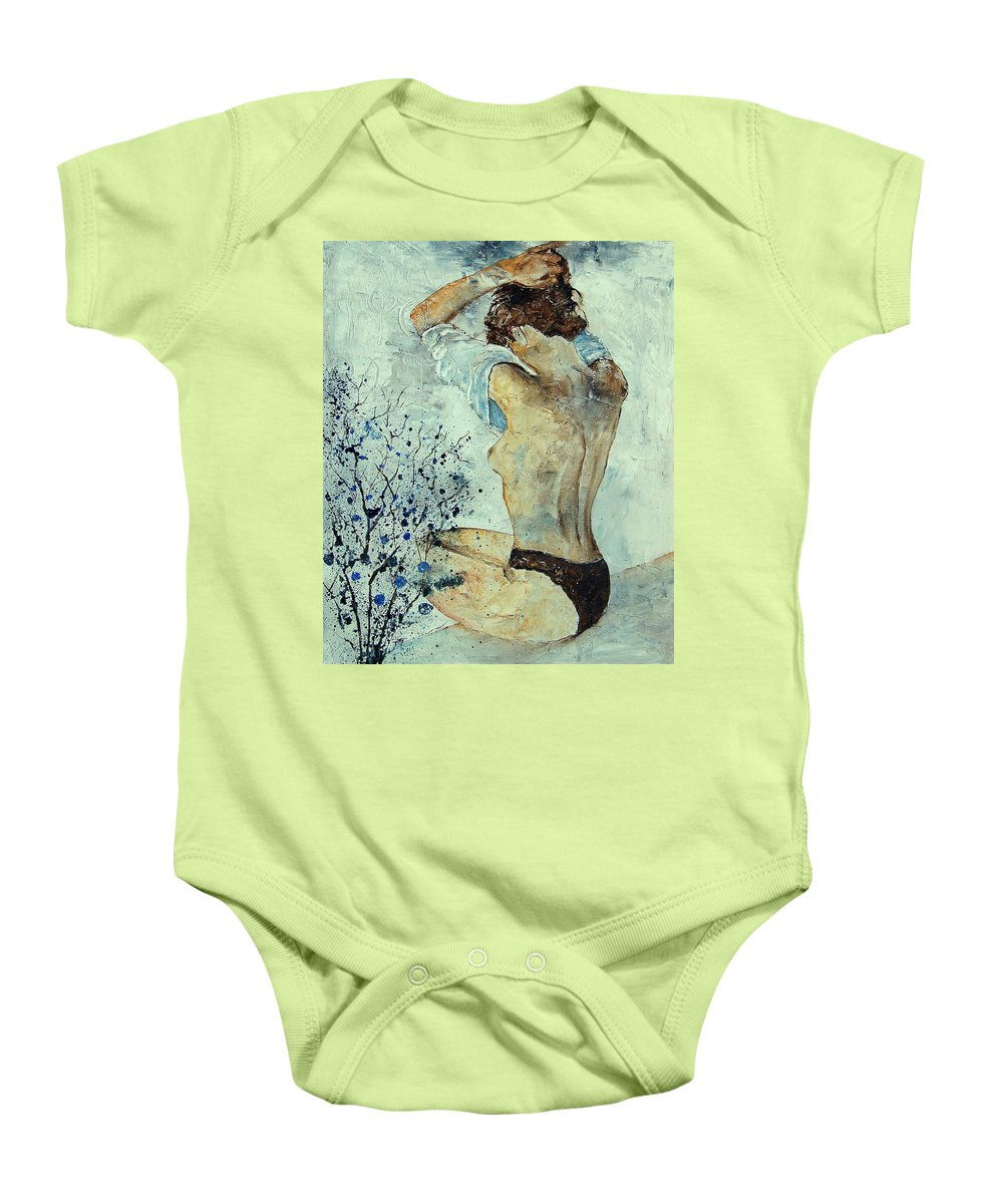Nude Baby Onesie featuring the painting Waking Up by Pol Ledent
