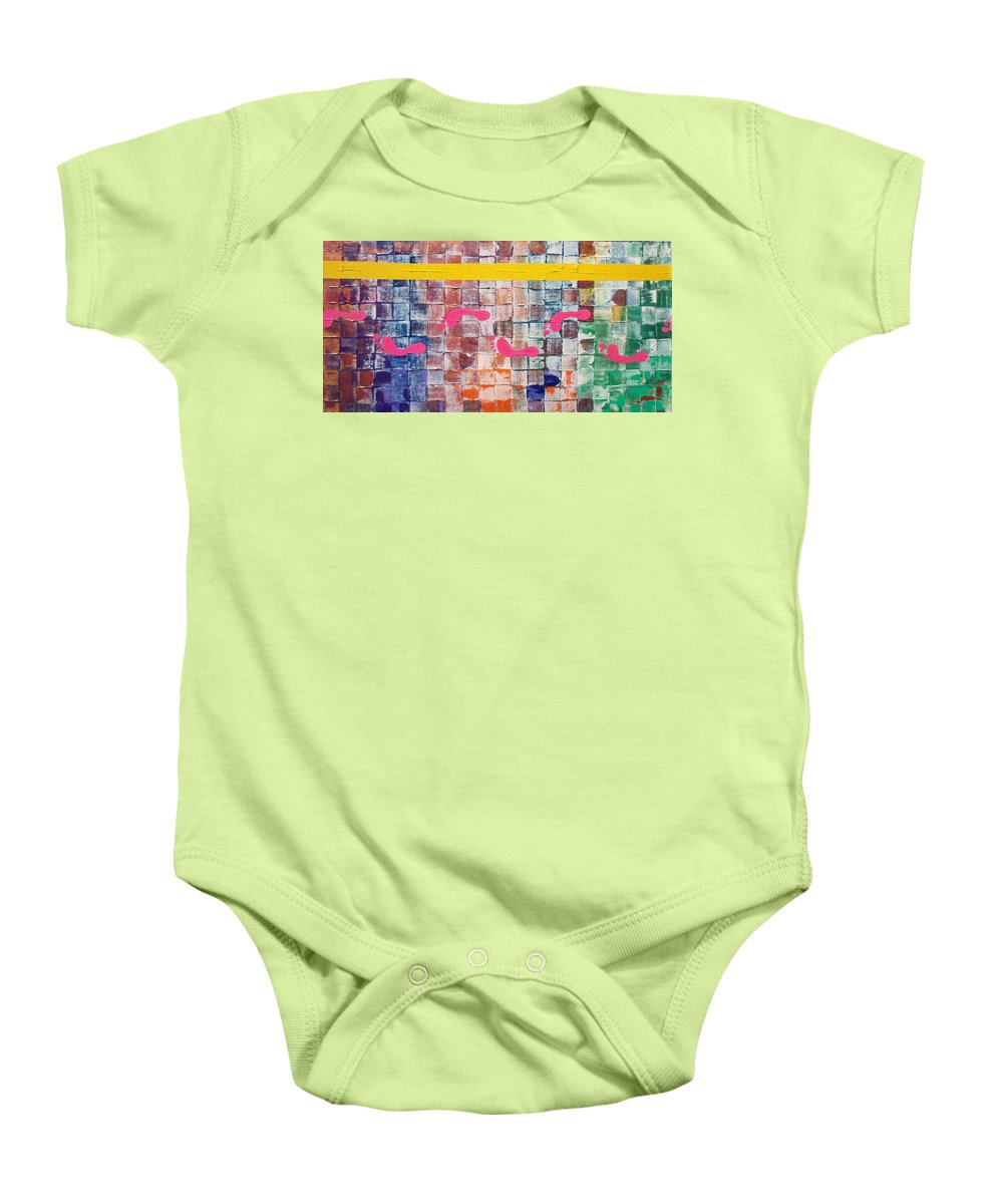 Walk The Line Baby Onesie featuring the painting Walk The Line by Gary Hogben